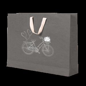 Premium Kraft – Cinza Bicicleta – Sacola com alça algodão – G