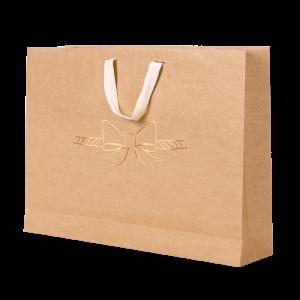 Premium Kraft – Natural Laço – Sacola com alça algodão – G