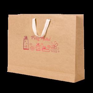Premium Kraft – Natural Natal – Sacola com alça algodão – G