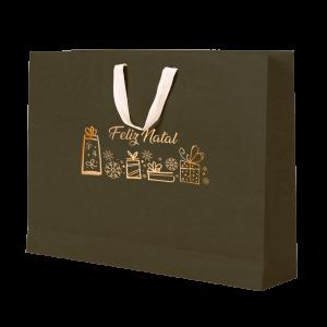 Premium Kraft – Verde Natal – Sacola com alça algodão – G