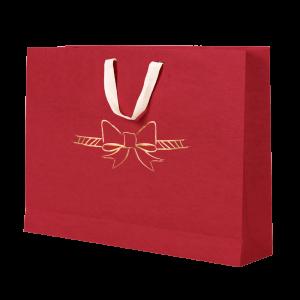 Premium Kraft – Vermelho Laço – Sacola com alça algodão – G