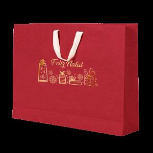 Premium Kraft – Vermelho Natal – Sacola com alça algodão – G