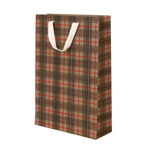 Premium Kraft – Xadrez Vermelho e Cinza – Sacola com alça algodão – M