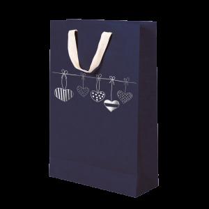 Premium Kraft – Azul Coração – Sacola com alça algodão – M