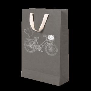 Premium Kraft – Cinza Bicicleta – Sacola com alça algodão – M