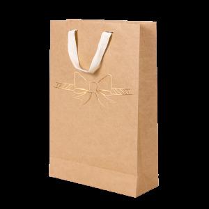 Premium Kraft – Natural Laço – Sacola com alça algodão – M