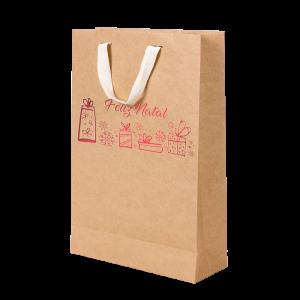 Premium Kraft – Natural Natal – Sacola com alça algodão – M
