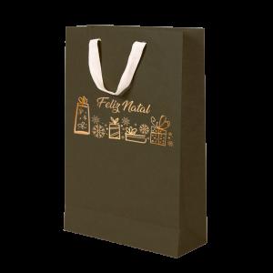 Premium Kraft – Verde Natal – Sacola com alça algodão – M