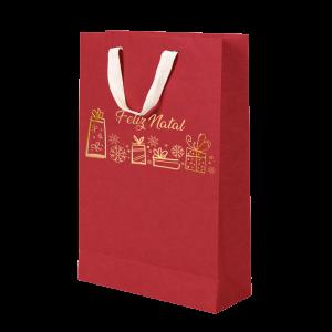 Premium Kraft – Vermelho Natal – Sacola com alça algodão – M