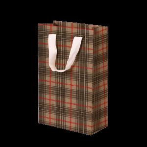 Premium Kraft – Xadrez Vermelho e Cinza – Sacola com alça algodão – P