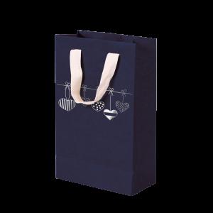 Premium Kraft – Azul Coração – Sacola com alça algodão – P