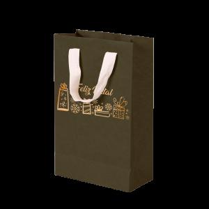 Premium Kraft – Verde Natal – Sacola com alça algodão – P