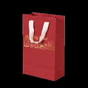 Premium Kraft – Vermelho Natal – Sacola com alça algodão – P