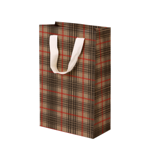 Premium Kraft – Xadrez Vermelho e Cinza – Sacola com alça algodão – PP