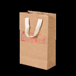 Premium Kraft – Natural Natal – Sacola com alça algodão – PP
