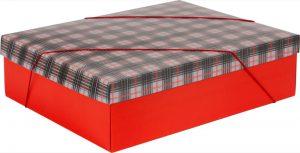 Caixa – G Retangular – Xadrez Cinza e Vermelho