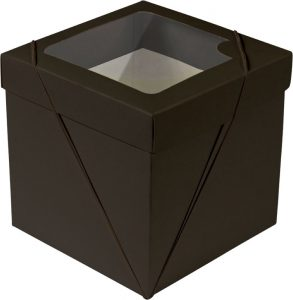 Caixa com visor – P Cubo – Marrom