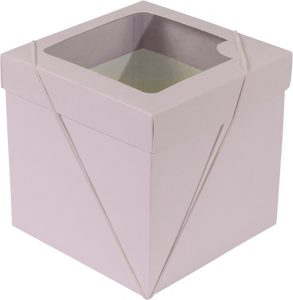 Caixa com visor – P Cubo – Rosa Bebê