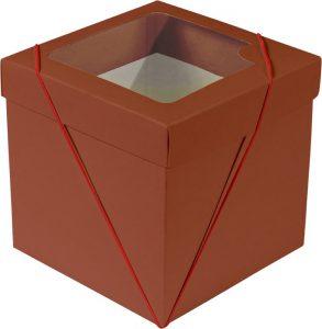 Caixa com visor – P Cubo – Vermelho