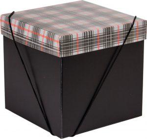 Caixa – Cubo – Xadrez Cinza e Vermelho