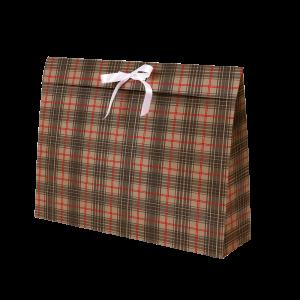 Premium Kraft – Xadrez Vermelho e Cinza – Sacola envelope com alça – G