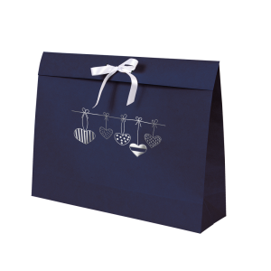 Premium Kraft – Azul Coração – Sacola envelope com alça – G