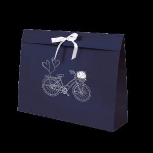 Premium Kraft – Azul Bicicleta – Sacola envelope com alça – G