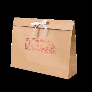 Premium Kraft – Natural Natal – Sacola envelope com alça – G