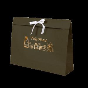 Premium Kraft – Verde Natal – Sacola envelope com alça – G