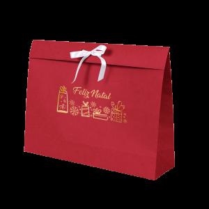 Premium Kraft – Vermelho Natal – Sacola envelope com alça – G