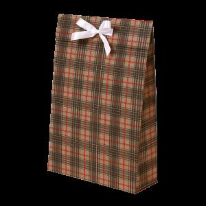 Premium Kraft – Xadrez Vermelho e Cinza – Sacola envelope com alça – M