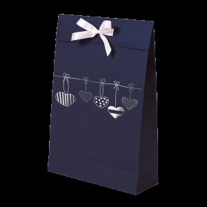 Premium Kraft – Azul Coração – Sacola envelope com alça – M