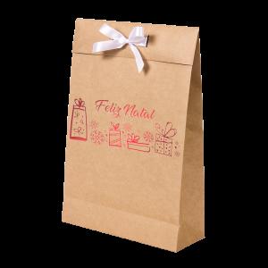Premium Kraft – Natural Natal – Sacola envelope com alça – M