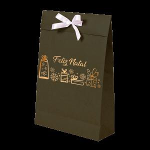 Premium Kraft – Verde Natal – Sacola envelope com alça – M