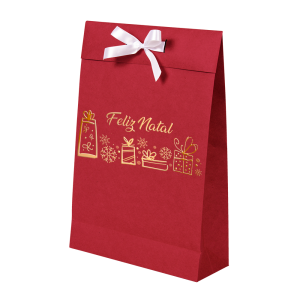 Premium Kraft – Vermelho Natal – Sacola envelope com alça – M
