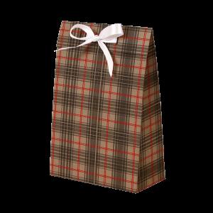 Premium Kraft – Xadrez Vermelho e Cinza – Sacola envelope com alça – P