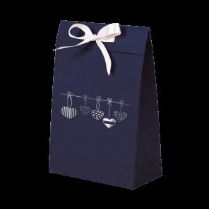 Premium Kraft – Azul Coração – Sacola envelope com alça – P