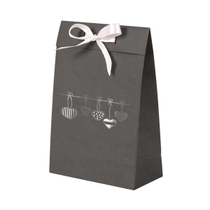 Premium Kraft – Cinza Coração – Sacola envelope com alça – M