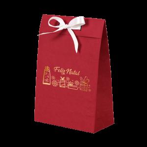 Premium Kraft – Vermelho Natal – Sacola envelope com alça – P