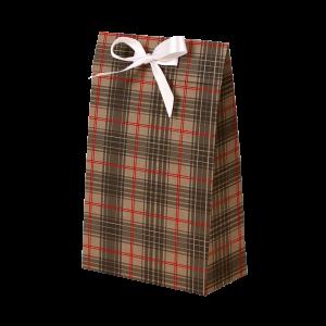 Premium Kraft – Xadrez Vermelho e Cinza – Sacola envelope com alça – PP