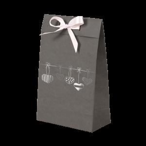 Premium Kraft – Cinza Coração – Sacola envelope com alça – P