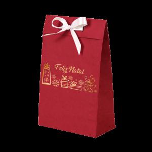 Premium Kraft – Vermelho Natal – Sacola envelope com alça – PP