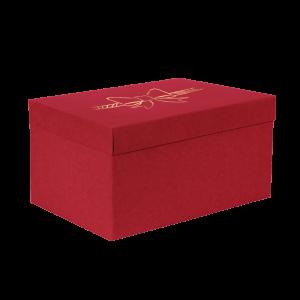 Premium Kraft – Vermelho Laço – Caixa T/F montável semirrígida – G