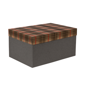 Premium Kraft – Xadrez Vermelho e Cinza – Caixa T/F montável semirrígida – M