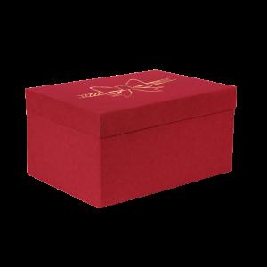 Premium Kraft – Vermelho Laço – Caixa T/F montável semirrígida – M