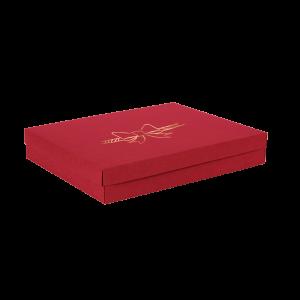 Premium Kraft – Vermelho Laço – Caixa tampa e fundo – G